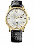 Tommy Hilfiger Men's Casual Sport Black Leather Strap Watch 44mm 1791218 $33.75 (Orig. $135)