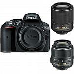 Nikon D5300 DX-Format DSLR Camera with 18-55mm & 55-200mm VR II Lenses Refurbished $529