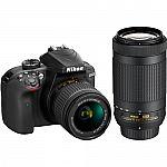 Nikon Refurbished D3400 DSLR Camera w/ AF-P 18-55 VR & 70-300m Lenses $445