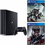 PlayStation 4 Pro 1TB console + Destiny 2 + Dishonored Death of the outsider $399