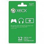 12-Month Xbox Live Gold Membership Subscription Card $40 + Free Shipping
