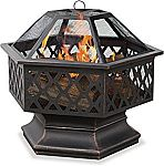 Endless Summer,WAD1377SP, Hex Shaped Outdoor Fire Bowl with Lattice, Oil Rubbed Bronze $57