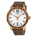 TISSOT Quickster Silver White Dial Brown Leather Men's Watch $139