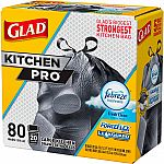 80-ct Glad 20 Gal. ForceFlex Kitchen Pro Drawstring Fresh Clean Odor Shield Trash Bags $7.34