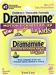 8-Count Dramamine Motion Sickness Relief for Kids, Grape Flavor $3.51