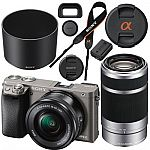 Sony a6300 Camera + 16-50mm Zoom + 55-210mm Lens + 128GB Memory for $998 or a6000 for $698