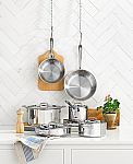 "All-Clad Stainless Steel 10-Pc. Cookware Set + Bonus SS 15"" Oval Baker & Pot Holder Set $360 and more (New account required)"