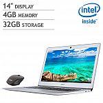 "Acer 14"" 1080p Chromebook: Intel Celeron 4GB  32GB + wireless mouse $200"