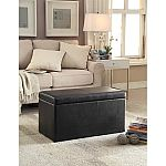 "Better Homes and Gardens 30"" Faux Leather Hinged Storage Ottoman - Black $24 or Collapsible Storage Ottoman for $8"