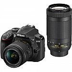 Nikon D3400 DSLR Camera with 18-55mm and 70-300mm Lenses and more $499