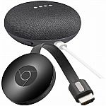 Google - Home Mini (Charcoal) & Chromecast Package $55