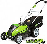 Greenworks 19-Inch 40V Cordless Lawn Mower 25223 with 2 Batteries $211
