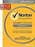 Norton Security Premium - 10 Device [Key Card] $27.99