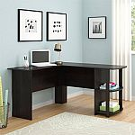 L-Shaped Desk with Side Storage, Multiple Finishes $69