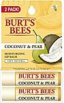 2-Pack Burt's Bees 100% Natural Moisturizing Lip Balm (Coconut & Pear) $3.70