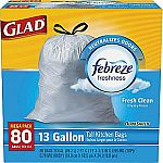 Glad OdorShield Tall Kitchen Drawstring Trash Bags (13 Gallon, 80 Bags/Box): $9.99 (Today Only)