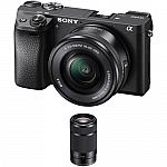 Sony Alpha a6300 Mirrorless Digital Camera with 16-50mm and 55-210mm Lenses Kit $1196