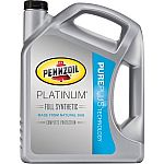 Pennzoil 0W20 Platinum Full Synthetic Motor Oil, 5 Qt $12 (After $10 rebate)