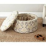 One Day Special: Tanisha Ikat Grey Linen/Cotton Shoe Ottoman $77.34 (52% Off) & More