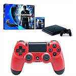Sony PlayStation 4 PS4 Slim 500 GB Uncharted 4 bundle + Dualshock 4 controller (Magma Red) $250