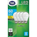 4-Pack Great Value 60W Equivalent LED Bulbs $5.74