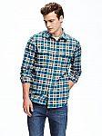 Mens Regular-Fit Plaid Flannel Pocket Shirt $6.50 Shipped