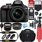 Nikon D3400 24.2 MP DSLR Camera w/ AF-P DX 18-55mm VR Lens Kit + Memory Bundle $496.95