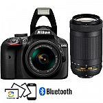 Nikon Refurbished D3400 DSLR Camera + 18-55mm VR & 70-300mm Lenses $419