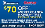 Costco Michelin Tires $70 discount + $0.01 Installation ($129.96 savings, Any Member)