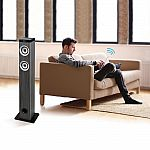 Innovative Technology Bluetooth Tower Speaker with Wood Grain in Grey $48