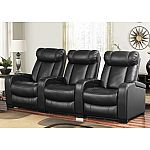 Larson Leather Reclining Home Theater Seating, 3-Piece Set  by Abbyson Living $999