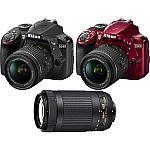 Nikon Refurbished D3400 DSLR Camera + 18-55mm VR & 70-300mm Lenses $400