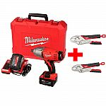 "Milwaukee M18 18-V Li-Ion 1/2"" Cordless High-Torque Impact Wrench + Friction Ring Kit + 2 Batteries $199 (50% Off)"