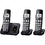 Panasonic KX-TGE233B Expandable Cordless Digital Phone with Large Keypad - 3 Handsets $50