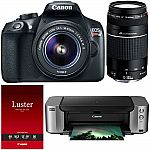 Canon EOS Rebel T6 DSLR Camera with 18-55mm & 75-300mm Lenses + Pro 100 Printer $340 After Rebate