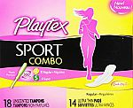 32-Ct Playtex Sport Combo Pack w/Tampons and Pads $2.50