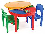Tot Tutors Kids 2-in-1 Plastic LEGO-Compatible Activity Table and 2 Chairs Set $35.54