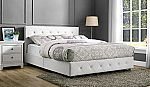 DHP White Dakota Faux Leather Tufted Upholstered Platform Bed $138.60