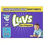 216-Count Luvs Ultra Leakguards Diapers (Size 2) $13.58 (Amazon Family Required)
