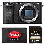Sony Mirrorless Camera A6500 (Body) + $200 gift card + 64GB SD Card $1,398