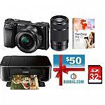 Sony a6000 Mirrorless Camera w/ 16-50 & 55-210 + $50GC, WiFi Printer, 32GB Card $748