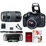 Canon EOS Rebel T6 w/ 18-55 & 75-300 Lenses + Pro 100 Printer/Paper/PaintShop X8 $349 After Rebate