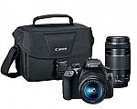 Canon EOS Rebel T6 DSLR Camera with 18 - 55 mm and 75 - 300 mm Lenses Kit $349