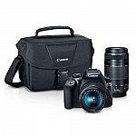 Canon EOS Rebel T6 18MP DSLR Camera with 18-55mm + 75-300mm Lenses $450 + $90 Kohl's Cash