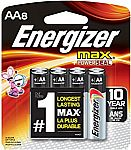 8-Count Energizer MAX AA Batteries $2.22