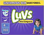 Luvs Ultra Leakguards Diapers (All Sizes) $13.58 (from $0.05/count)