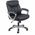 Leather Executive Office Chair with Arms, Black/Silver $46.51