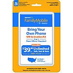 Walmart Family Mobile BYOP sim kit $0.98