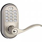 Yale Push-Button Lever Lock with Z-Wave (Satin Nickel) $159