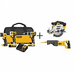 DEWALT 20V Li-Ion Brushless Compact Cordless Combo Kit (3-Tool) + Circular Saw + Reciprocating Saw $379
